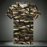 camouflage wholesale - Man Casual Camouflage T shirt Men Cotton Army Tactical Combat T Shirt Military Sport Camo Camp Mens T Shirts Fashion Tees