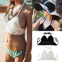 crochet bikini - Sexy Women Crop Deep V Neck Hollow Out Crochet Crop Knitted Bra Boho Beach Bikini Halter Cami Tank Tops Tees G0991