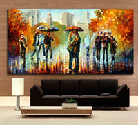 One Panel art streets - Rainy Embrace In The Street Romantic Lover Modern Palette Knite Oil Painting Canvas Print Art for Home Office Cafe Wall Decor
