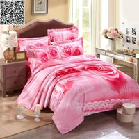 Wholesale 3d pink rose print bedclothes Quilt Duvet Comforter covers bed sheet pillow case bed sets Cotton pc bedding set king queen