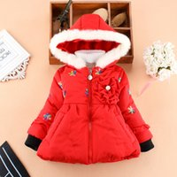 Wholesale kids girls winter hooded sports suit jacket thickened colourful baby girl outdoor sport coat