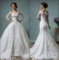 Wholesale 2016 New Sexy Sheer Long Sleeves Mermaid Full Lace Wedding Dresses Off The Shoulder Court Train Bridal Gowns With Removable Overskirt AS