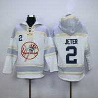Wholesale Yankees Derek Jeter Lace Up Pullover Hooded Sweatshirt Baseball Hoodies Mens Sports Jackets Cheap Fleece Players Baseball Sweaters
