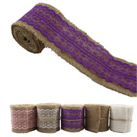 Wholesale 2M Natural Hessian Burlap Ribbonwith Lace Rusitc for Wedding Event Party Gift Wrapping Decoration Product Supplies MD