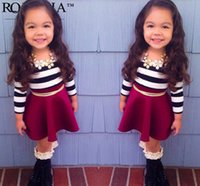 children clothings - 2015 autumn new children outfits girls black white stripe long sleeve T shirt belt skirt sets kids clothings A6881