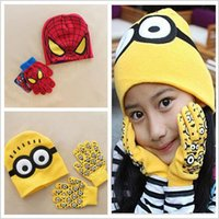 Wholesale BBA4527 kid Despicable Me beanie hat gloves Minions spiderman beanie cap gloves baby outdoor minions beanie gloves christmas gifts