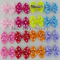 baby girl tiara - NEW Polka Dot Grosgrain Ribbon Hair Bows WITH Hair Clips Baby Girls Hair Accessories Boutique HairBows HJ041 cm