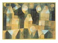 art house reproductions - Decorative Art abstract Three Houses and a Bridge Paul Klee oil painting Reproduction Canvas High quality Hand painted