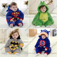 al por mayor los bebés varones traje para la nieve-Superman Batman bebé niño niño infantil niño animal Onesie mono traje mono traje pijama de una pieza traje de nieve capucha con capucha traje