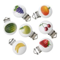 baby fruit holder - 2x5PCs Mixed Baby Pacifier Clips Holder Clasps Soother Fruit Pattern Printed White Wood Metal Holders wood cutting laser machine