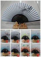 Wholesale DHL Plum Flower Hand Held Silk Bamboo Folding Fan With Tassel Wedding Favor