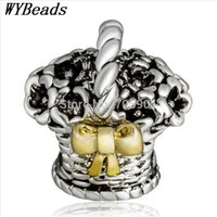 basket caps - New Sterling Silver Charm Bowknot Flower Basket European Charms Silver Beads For Snake Chain Bracelet X712
