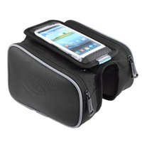 Wholesale Free DHL Roswheel L Cycling Bike Front Frame Bag Tube Pannier Double Pouch for in in Cellphone bicycle accessories