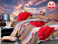 Wholesale Unique D Red Rose queen size girl flower bedding set duvet cover bed sheet bedclothes cotton home textile