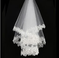 bridal lace applique - Hot Sale White Ivory Bridal Veils Sequined Beaded Soft Tulle Short Wedding Veils In Stock NO