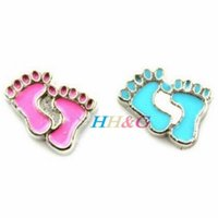Charms baby sliders - New fashion Hot enamel baby feet floating charm fits floating charm necklace locket best gifts for my dear