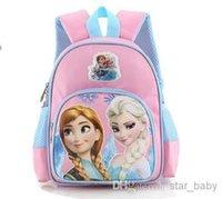 Wholesale Hot Sell Children School Bags Elsa Snow Queen Princess Girls Shoulders Bag Frozen Cartoon Backpack Reduced Pressure Bag Pink Fushcia