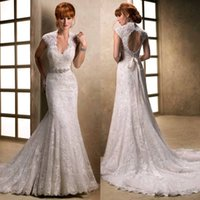 Wholesale 2014 Charming V neck Lace Wedding Dresses Sleeveless Corset Mermaid Close Fitting Chapel Train Beads Working Fashionable Bridal Gowns