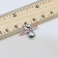 Wholesale 150Pcs Antique Silver Plated Volleyball Charms Pendants for Jewelry Making Floating Charm Handmade DIY x21mm