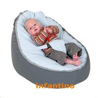 Wholesale Grey with blue seat baby bean bag kid beanbag feeding chair
