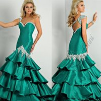 Cheap 2015 Green Mermaid Style Prom Dresses Miss Evening Gowns With Sparkling Crystals Beaded Sequins Sweet Girls Pageant Dress For Teen Gown