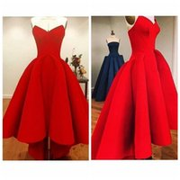 affordable evening gowns - 2016 Bright Red Sweetheart Hi Lo Prom Dresses Plus Size Satin Back Zipper Pleated Gorgeous Sexy Girl Party Evening Gowns High Low Affordable