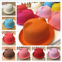 Wholesale 2015 Fashion kids Straw Hat Summer Baby Ear Decoration Lovely Children Girls And Boys Sun beach Hat Solid Floppy Panama hat T colors