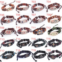 Wholesale 26 styles Mens Leather Wrap Bracelet Genuine Handmade Alloy Charms Bracelets Wristbands mixed style lovers jewelry