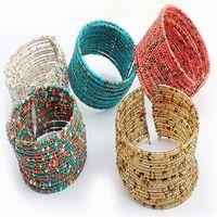 Cheap Bead bangle Width Cuff Seed Beads Chain Handmade Bohemia bracelets & bangles Fashion Jewelry Christmas Gift