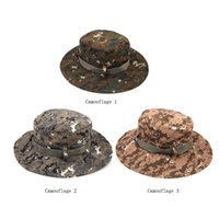 Wholesale Military Camouflage Wide Round Brim Caps Outdoor Fishing Camping Hiking Sun Cap Men Hat