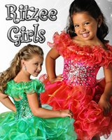 Wholesale Red green puffy organza crystals short pageant dresses for toddlers corset back Cupcake Beads Crystal Ruffles Mini Girls Prom Pageant Dress
