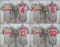 adam wainwright jersey - St louis Baseball Yadier Molina Jersey Stan Musial Matt Carpenter Adam Wainwright Mens Grey Stitched Baseball Jersey