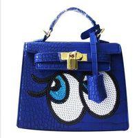 doctor bag - Crocodile women big eye bag doctor small women leather handbags sweet women clutch lock women messenger bags sequins bolsa sac
