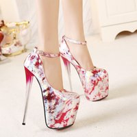 ladies shoes size - 2015 New Women s Extreme High Heels Shoes Sexy Club Party Wedding Dress Shoes Ladies Platform Evening Pumps Printed Color Plus Size B