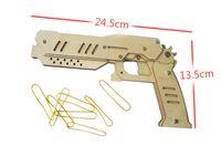 Wholesale Piece DIY Wooden Toy Guns Blaster Pistol Rubber Band Gun POWER SHOT