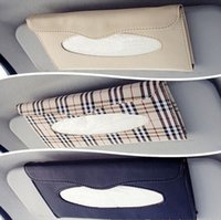 Wholesale Car Interior PU leather Frame Sun shading Board Hanging Tissue Box Auto Accessories Napkin Storage Box Paper Towel Holder LF