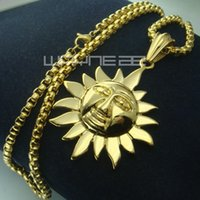 Wholesale men Women s k gold GP Stainless Steel Sun Face Necklace Pendant Jewelry N234
