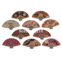 Wholesale Mixed Paper Fans Shape Holes Wood Sewing Buttons Scrapbooking x19mm W05073