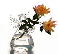 Wholesale chic Transparent Flower Plant Vase Hnadmade Glass Angel Vase Terrarium Home Office Desk Decor Decoration Gift E440J