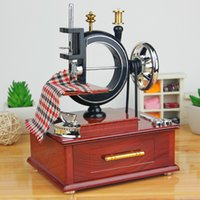 antique sewing box - Retro home decoration crafts music instrument Sewing Machine music box for Birthday gift