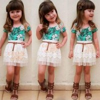 Wholesale 2015 spring autumn Girls Clothing Sets Pure Cotton Baby Girl Costumes Flower Printed Skirt Suits Children Clothing Kids Clothes