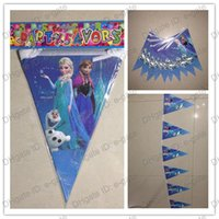 Wholesale Frozen Pennant Cartoon movie Elsa Anna kid child girl boy baby happy birthday party decoration flags kits supplies favors long M New