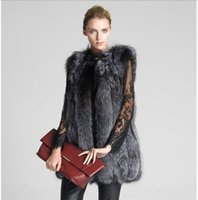 Wholesale Women s Warm Gilet Long Slim Outwear Vest Faux Fox Fur Waistcoat Jacket Coat