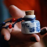 Cheap Vanly Renaissance retro Chinese style blue and white porcelain of Jingdezhen Ceramic aromatherapy bottle necklace jewelry wholes