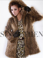 Wholesale New Fashion Womens Long Body Slim Faux Fox Fur Hooded Winter Coat Thick Fur Warm Outerwear Solid Color WT200