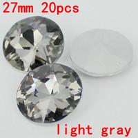achat en gros de rond de cristal 27mm-Haute qualité 27mm 20pcs cristal argent ombre grande forme ronde cristal pierres pierres de verre grand pour la décoration intérieure