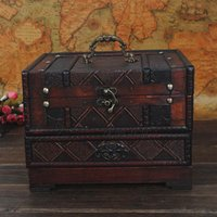 wooden jewelry box - vintage cosmetic box vanity case antiqued wooden storage box jewelry box with mirror