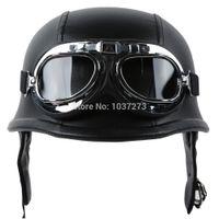 german helmets - Casque moto Biker WWII Style DOT Black Leather German Motorcycle HALF Helmet w Pilot Goggles