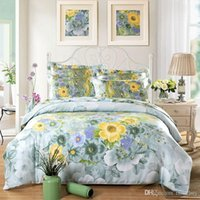Wholesale Silk tencel Floral print bedding sets queen king size bedcover soft duvet cover bedsheet pillowcase bed set
