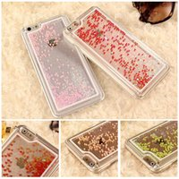 Cheap colorful Moving Stars heart fish Luminescence Liquid ocean Glitter Quicksand 3D Bling iPhone 6 Case Cover